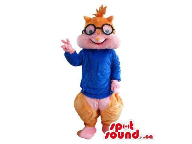 Well-Known Chipmunk Cartoon Character Plush Canadian SpotSound Mascot In Blue