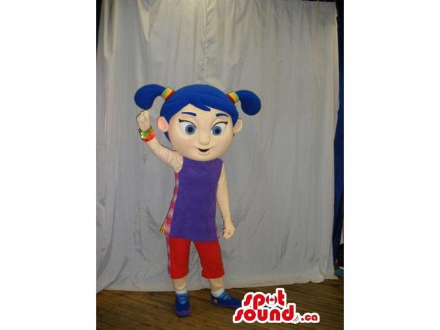 Blue Haired Girl Canadian SpotSound Mascot Dressed In Purple And Red Gear