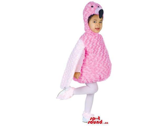 Cute Pink And White Flamingo Plush Children Size Peculiar Costume