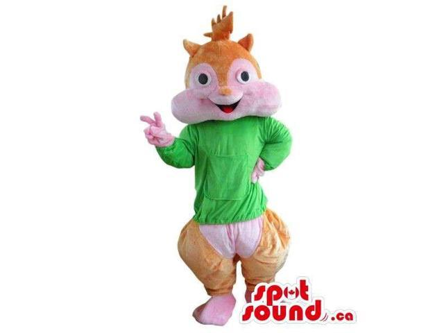 Well-Known Chipmunk Cartoon Character Plush Canadian SpotSound Mascot In Green