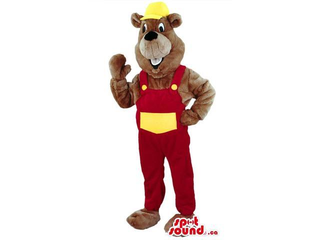 Brown Beaver Animal Canadian SpotSound Mascot With Red And White Worker Gear