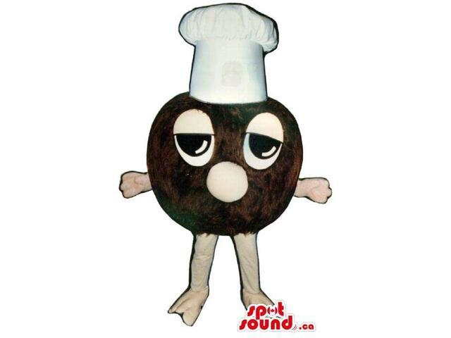 Customised Brown Ball Canadian SpotSound Mascot Dressed In A Chef Hat With Tired Face