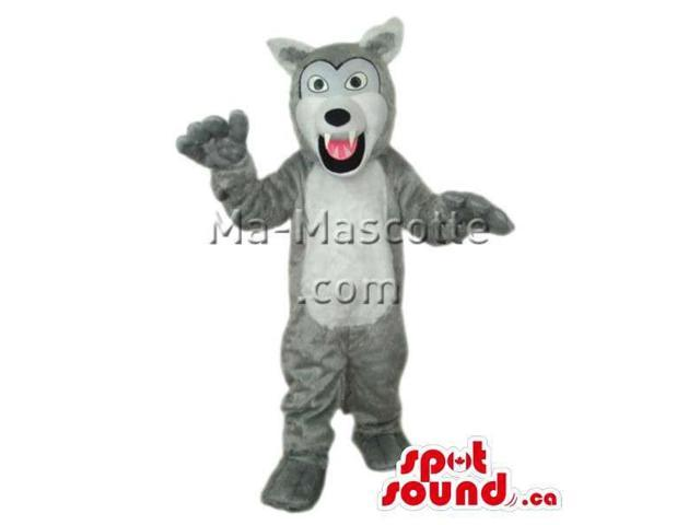 Grey Wolf Animal Plush Canadian SpotSound Mascot With Open Mouth And Pink Tongue