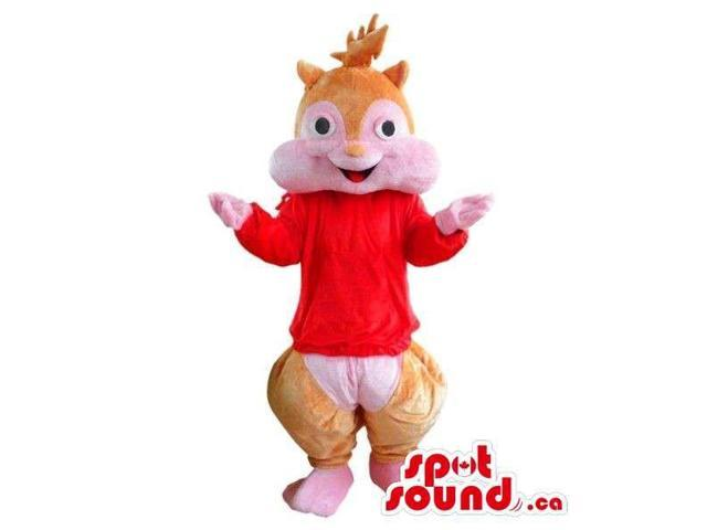 Well-Known Chipmunk Cartoon Character Plush Canadian SpotSound Mascot In Red