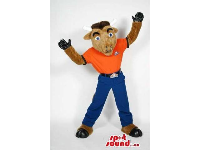 Brown Bull Canadian SpotSound Mascot Dressed In A T-Shirt And Pants With Nose Ring