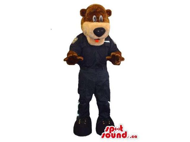 Brown Bear Forest Canadian SpotSound Mascot Dressed In Black Gear And Boots