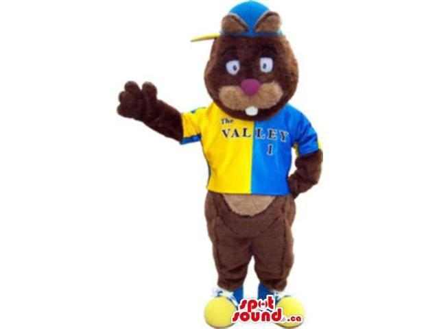 Brown Bear Forest Canadian SpotSound Mascot Dressed In Yellow And Blue Gear