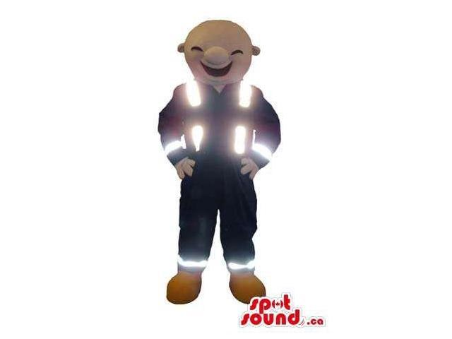 Human Character Canadian SpotSound Mascot Dressed In Reflecting Vest And Gear