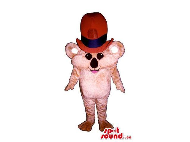 Cute Pink Small Mouse Plush Canadian SpotSound Mascot Dressed In A Large Red Top Hat