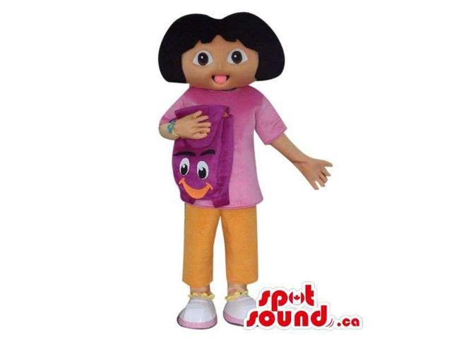Dora The Explorer Cartoon Character Canadian SpotSound Mascot With A Backpack
