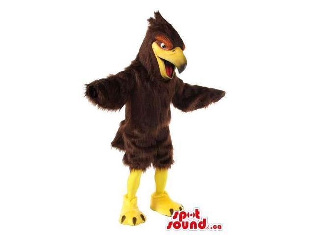 Original Brown Bird Plush Canadian SpotSound Mascot With Red Around Its Eyes