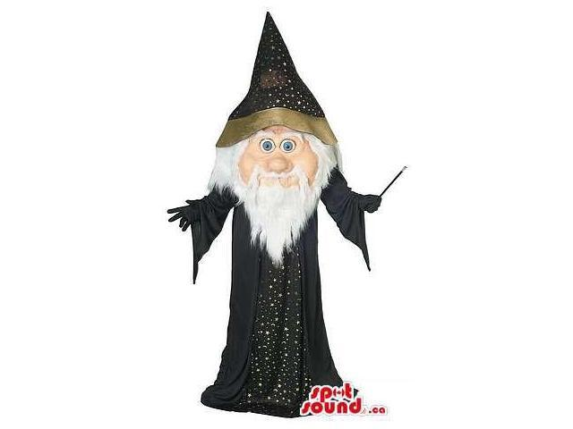 Cute Halloween Wizard Canadian SpotSound Mascot With Black Shinny Dress