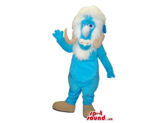 Blue Mammoth Animal Canadian SpotSound Mascot With A White Beard And Horns