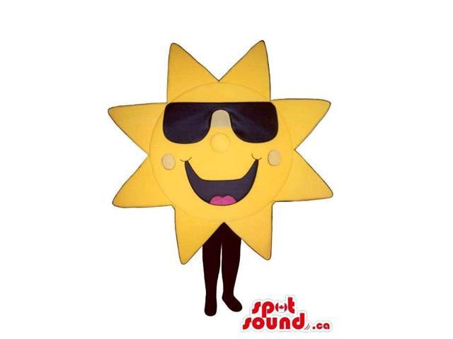 Cool Large Geometric Sun Plush Canadian SpotSound Mascot Dressed In Sunglasses