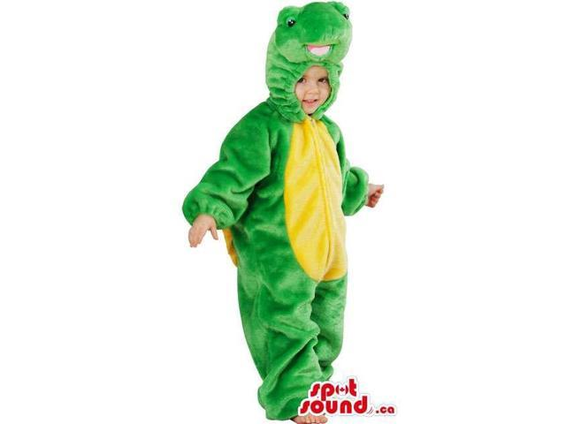 Children'S Green And All Yellow Alligator Plush Costume