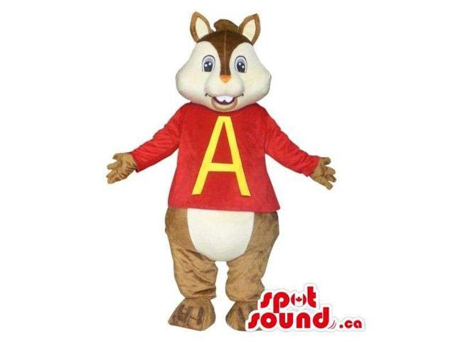 Well-Known Alvin Chipmunk Cartoon Character Plush Canadian SpotSound Mascot In Red