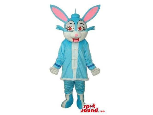 Blue And Pink Rabbit Robot Girl Canadian SpotSound Mascot With Red Eyes
