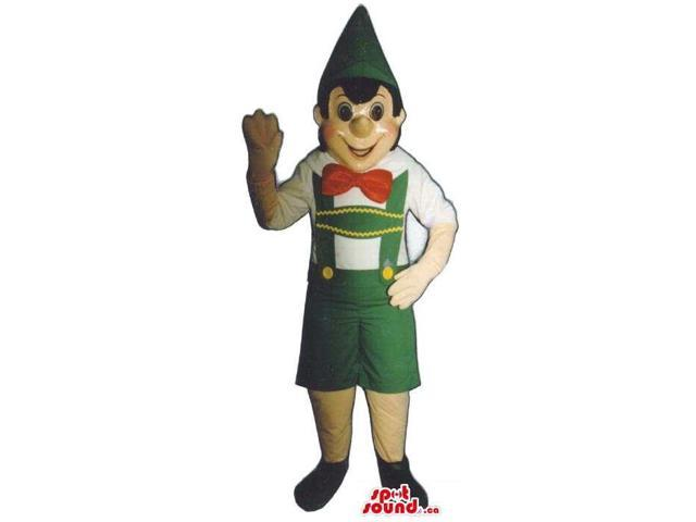 Well-Known Tale Pinocchio Canadian SpotSound Mascot With Green And Red Clothes