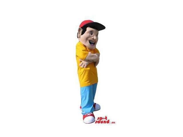Boy Human Character Canadian SpotSound Mascot Dressed In Street Wear Gear