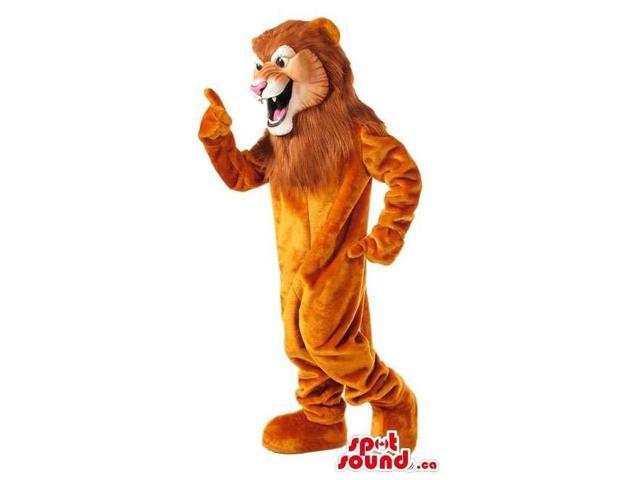 Brown Lion Animal Plush Canadian SpotSound Mascot With A Cool And Wild Face