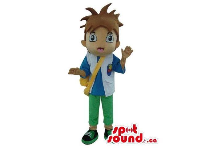 Dora The Explorer Boy Cartoon Character Canadian SpotSound Mascot With A Bag