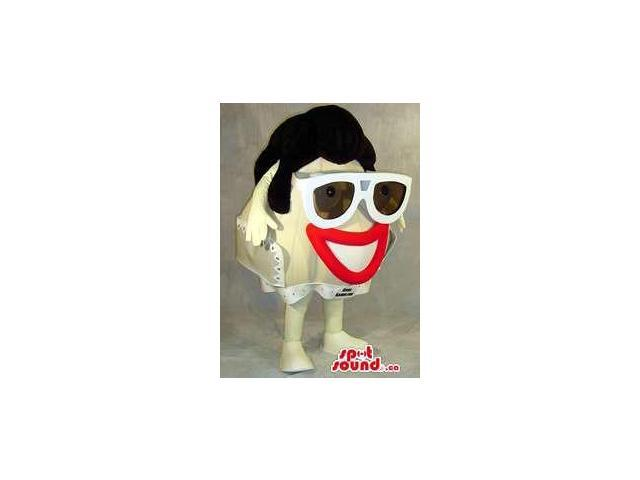 Cool Large Head Plush Canadian SpotSound Mascot With Red Lips And Sunglasses