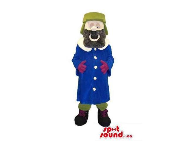Human Character Canadian SpotSound Mascot With A Beard Dressed In Thick Winter Gear