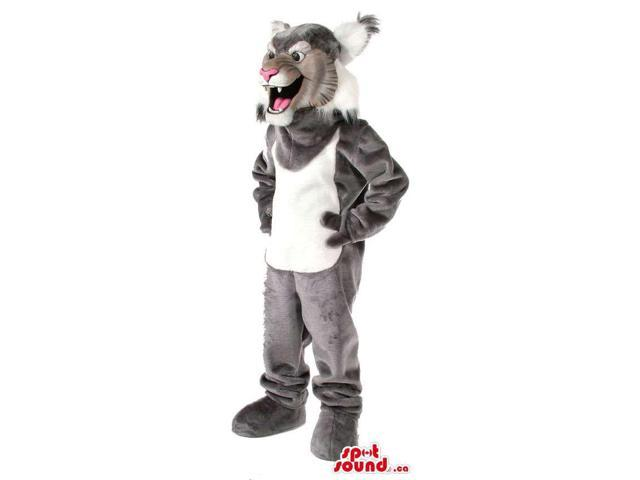 Grey Wildcat Animal Plush Canadian SpotSound Mascot With A White Belly