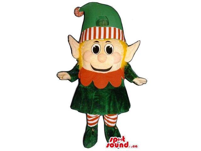 Small Dwarf Character Canadian SpotSound Mascot With A Pointy Hat And Yellow Hair