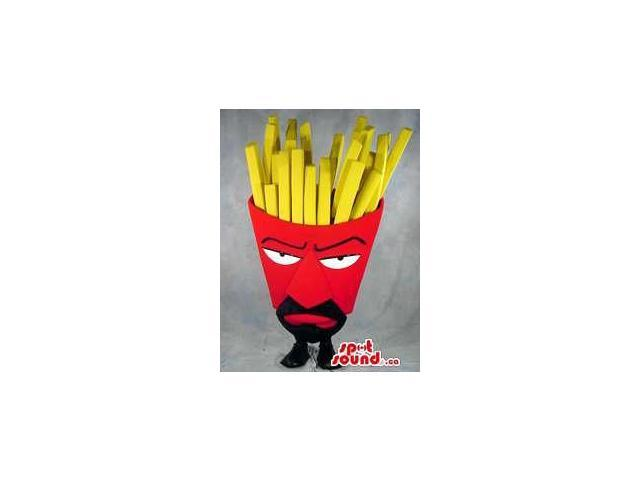 Angry French Fries Red Bag Food Canadian SpotSound Mascot With A Moustache