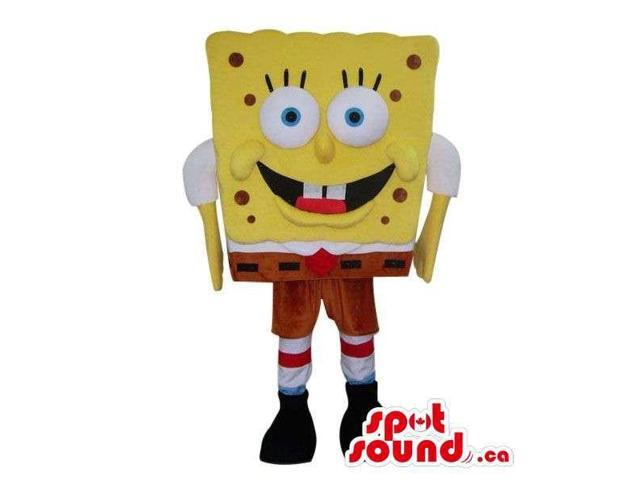Sponge Bob Cartoon Character Canadian SpotSound Mascot With Small Dots