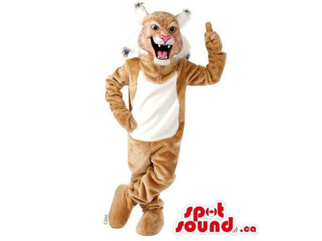 Brown Wildcat Animal Plush Canadian SpotSound Mascot With A White Belly