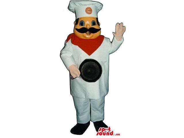 Large Chef Human Canadian SpotSound Mascot With A Logo And A Frying Pan