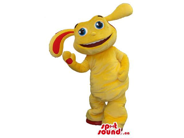 Yellow Creature Plush Canadian SpotSound Mascot With A Peculiar Face And Long Ears