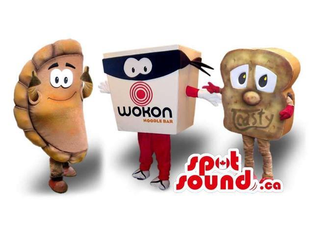 Three Varied Snack Food Plush Canadian SpotSound Mascots: Taco, Noodles And Sandwich