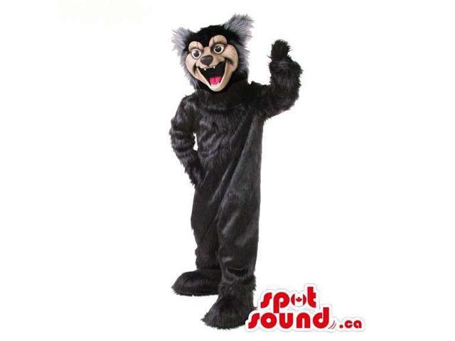 Wildcat Animal Plush Canadian SpotSound Mascot In Black With A Beige Face