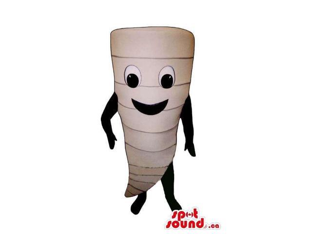 All White Turnip Vegetable Canadian SpotSound Mascot With Large Eyes And Smile