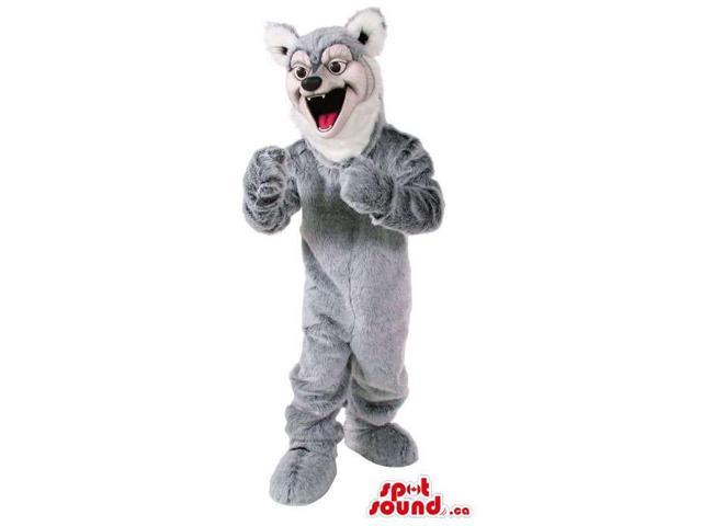 Wolf Animal Plush Canadian SpotSound Mascot In Grey With A White Face