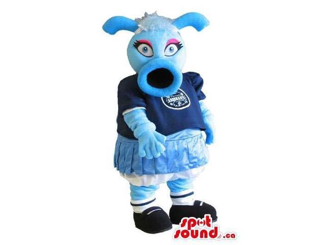 Blue Creature Plush Canadian SpotSound Mascot Dressed In School Girl Clothes