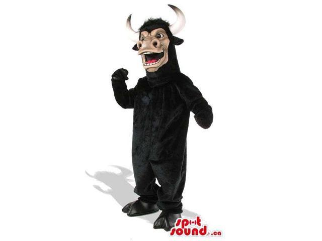 Wild Black Bull Animal Plush Canadian SpotSound Mascot With Long Horns