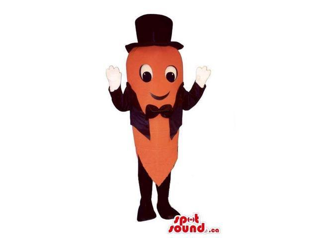 Carrot Vegetable Canadian SpotSound Mascot Dressed In A Black Smoking And Top Hat