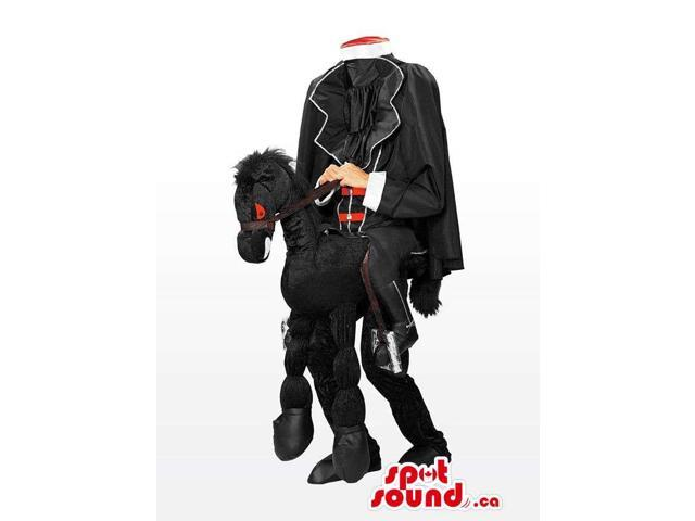 Two-In-One Headless Horse-Rider Walker Canadian SpotSound Mascot On A Black Horse