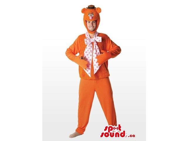 Cool Orange Bear With Large Bow Tie And Hat Adult Size Costume