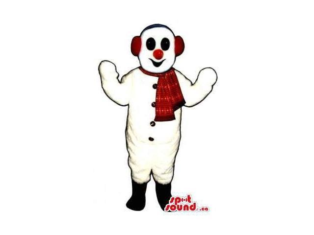 White Snowman Plush Canadian SpotSound Mascot Dressed In A Red Scarf And Ear Warmers