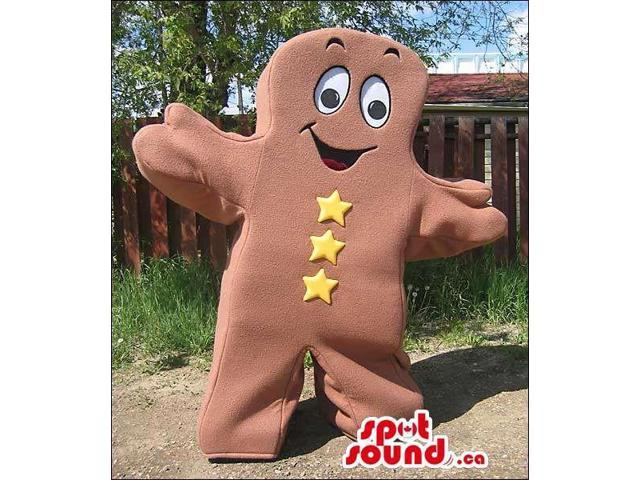 Brown Ginger Bread Man Or Chocolate Canadian SpotSound Mascot With Buttons