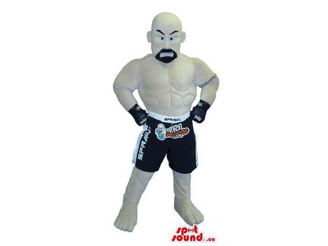 Human Canadian SpotSound Mascot With Bold Head And Beard Dressed In Wrestling Gear