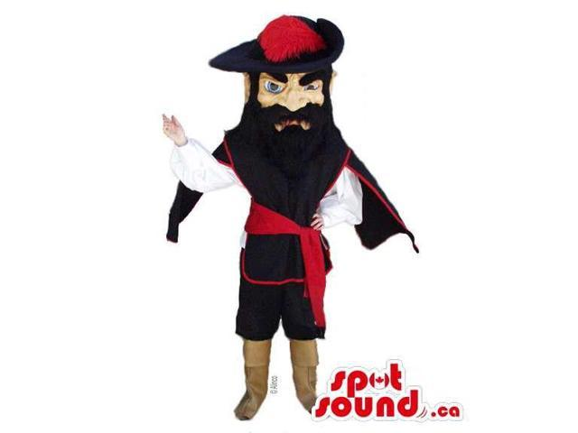 Human Canadian SpotSound Mascot With Black Beard Dressed In Pirate Clothes