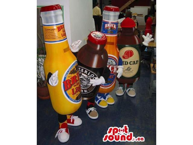 Group Of Four Beer Bottle Canadian SpotSound Mascots With Brand Names And Logos