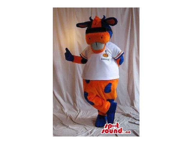 Orange And Blue Cow Plush Canadian SpotSound Mascot Dressed In A T-Shirt With Logo