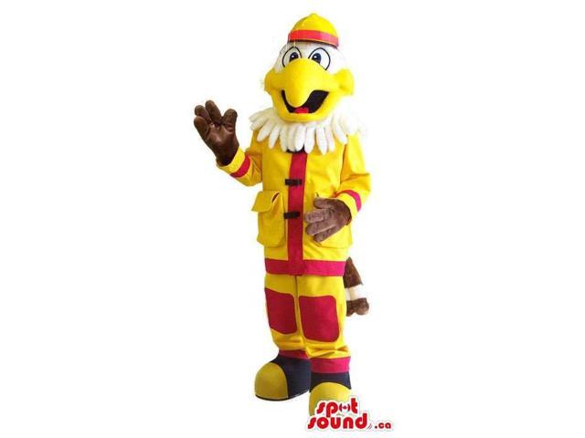 White Eagle Animal Canadian SpotSound Mascot Dressed In A Fireman Uniform